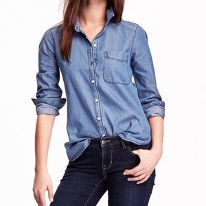 Old Navy Chambray The Classic Shirt Button Small